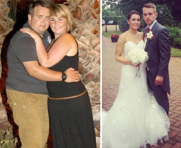 Пара отказывалась играть свадьбу, будучи полными. Вот как они выглядят 5 лет спустя в этот самый день