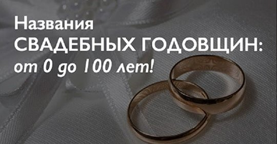 Названия свадебных годовщин: от 0 до 100 лет.