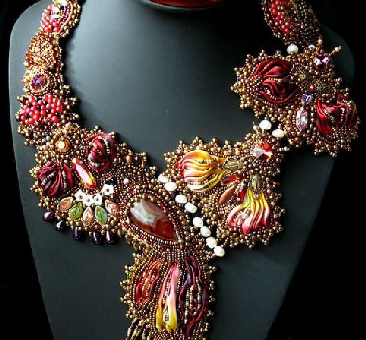 Изумительные украшения, сделанные в японском стиле шибори. Сплошное восхищение!