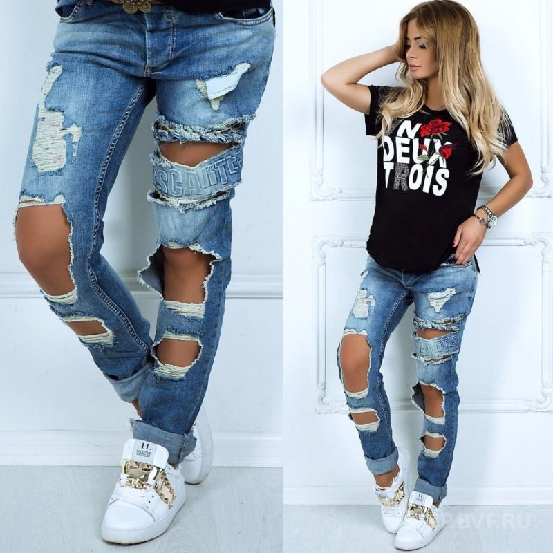 Как выбрать женские джинсы с дырками